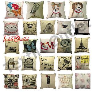 Vintage-Retro-Cushion-Cover-Patchwork-Paris-Garden-Air-Craft-Covers-18-034-x-18-034