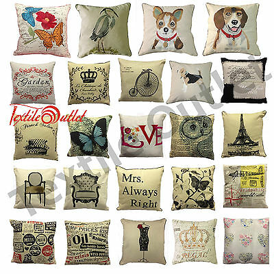 "Vintage Retro Cushion Cover Patchwork, Paris, Garden, Air Craft Covers 18""x 18"""