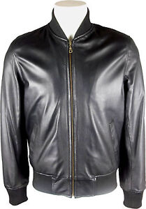 UNICORN LONDON Mens Black Classic Real Leather Bomber Jacket #B0 ...
