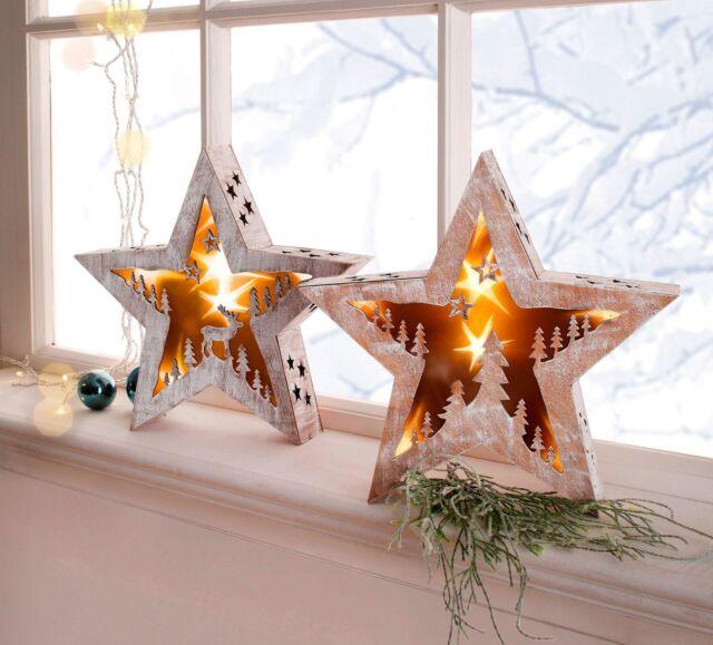 NEU LED Holzstern 2er Set LED Leuchter Lampe Weihnachten Deko  20143
