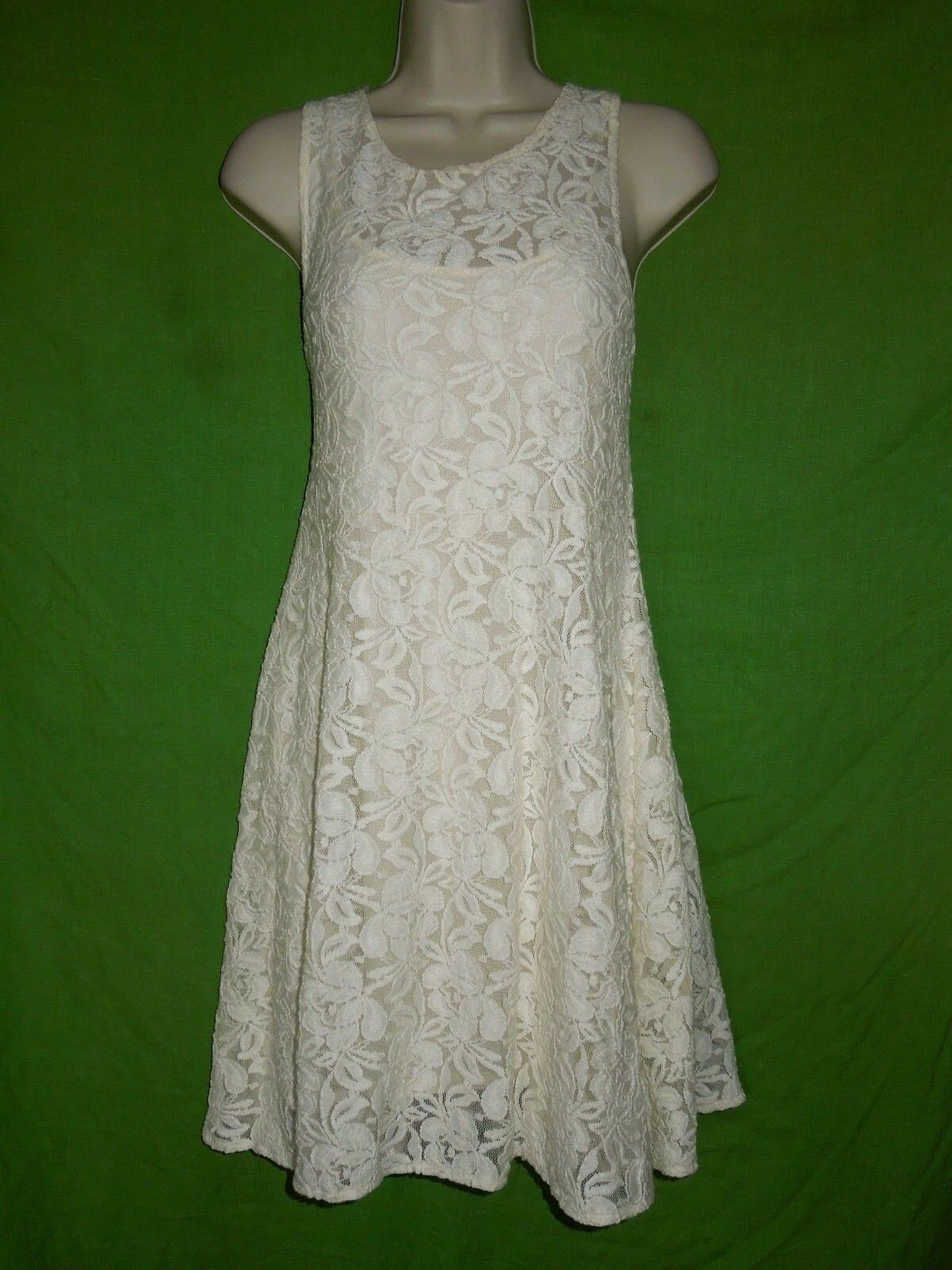 Free People sleeveless dress size S ivory lace lined A-line