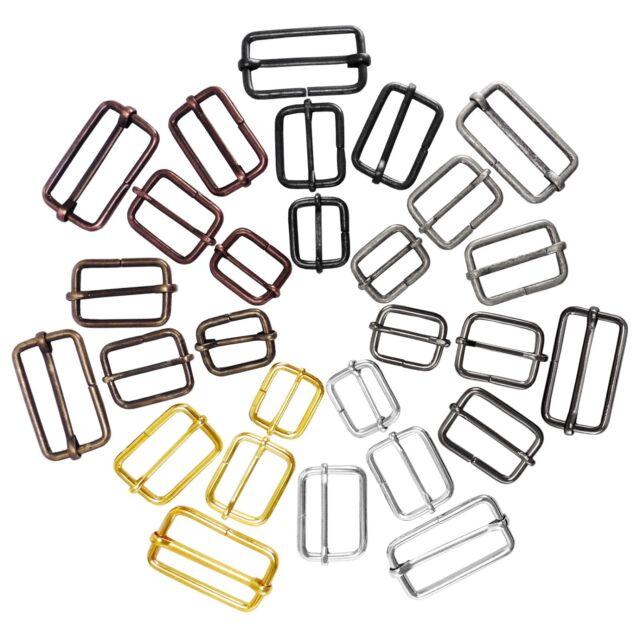 """Metal sliding bar strap adjuster buckles slider 1"""", 1 1/4"""", 1 1/2"""" - 20 25 30 mm"""