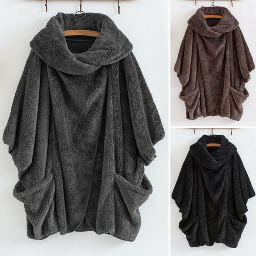 UK Women Winter Fluffy Fur Batwing Sleeve Baggy Cape Tops Coat Outwear Plus Size