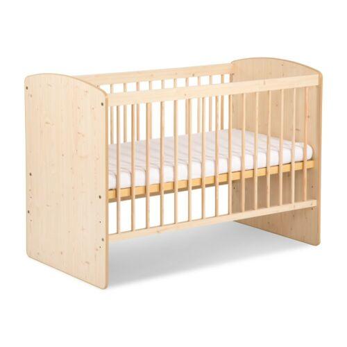 Babybett Natur Holz mit 10tlg Komplett-Set Bettwäsche Matratze Himmel Marine Neu