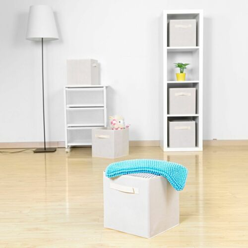 2x  Foldable Storage Cubes Cloth Boxes Drawers Fabric For Kids Toys Shelf White