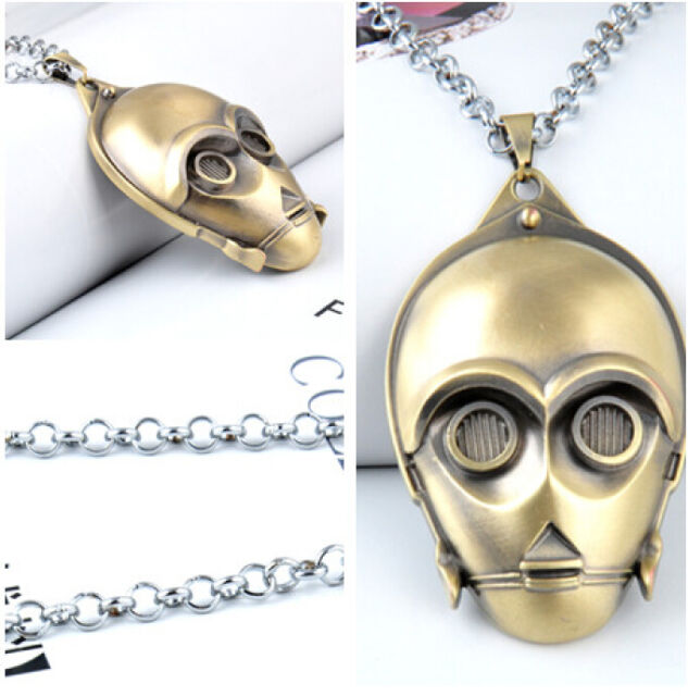 HOT Film Star Wars Knight Bronze Titanium Steel 3D Mask Pendant Necklace Chain