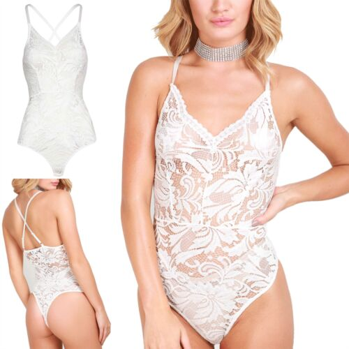 Ladies Full Floral Lace V Plunge Neck Leotard Womens Cross Back Cami Bodysuit