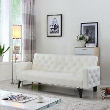 Modern Bonded Leather White Tufted On Nailhead Trim Sleeper Futon Armrest