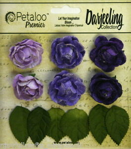 PURPLE-6-Mini-GARDEN-ROSETTE-Paper-Flowers-25-30mm-amp-6-Leaves-Darjeeling-Petaloo