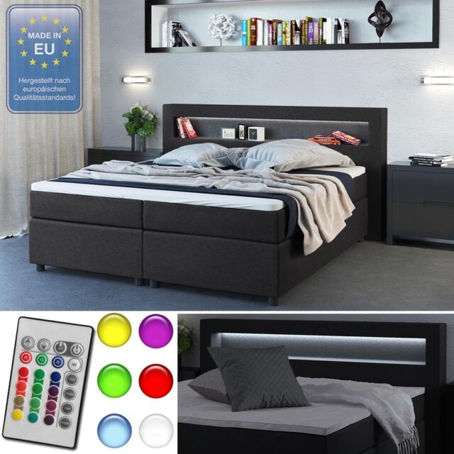 vicco design boxspringbett mit led farbwechselbeleuchtung