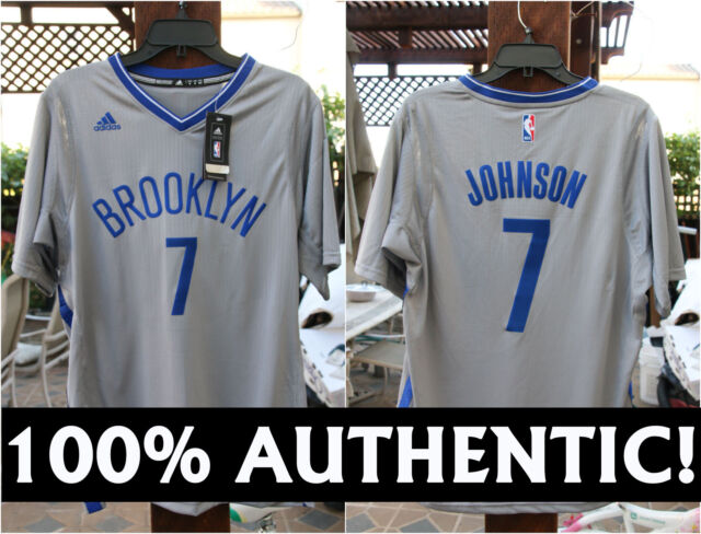 online retailer dc990 cdf49 Mens adidas Brooklyn Nets Alternate Home Swingman Jersey Joe Johnson #7  Grey XL