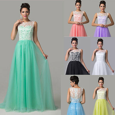 LACE Women Long Formal Evening Party Bridesmaid Prom Dress Wedding Gowns Dress
