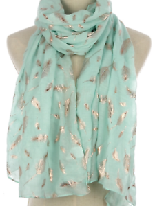 Mint green Scarf gold metallic feather print design scarves shawl present gift