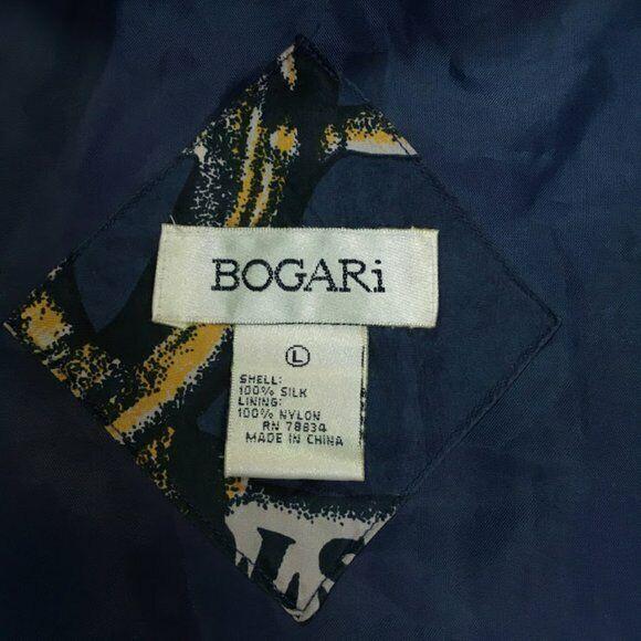 Vtg Bogari 100% Silk Bomber Nautical Anchor Bomber - image 7