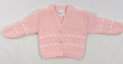 Baby Babies Girls Button Up Cardigan Striped White Pink Knitted V Neck NB 558