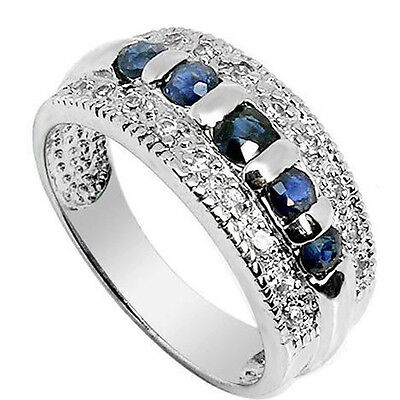 Size 6-10 Round Blue Sapphire CZ Wedding Ring Man/Womens 10KT White Gold Filled