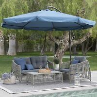 11' Offset Blue Patio Detachable Netting Cantilever Umbrella Outdoor Furniture