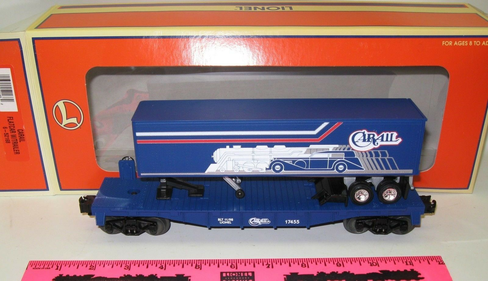 New Lionel 6-52168 Carail Flatcar With Trailer  17455