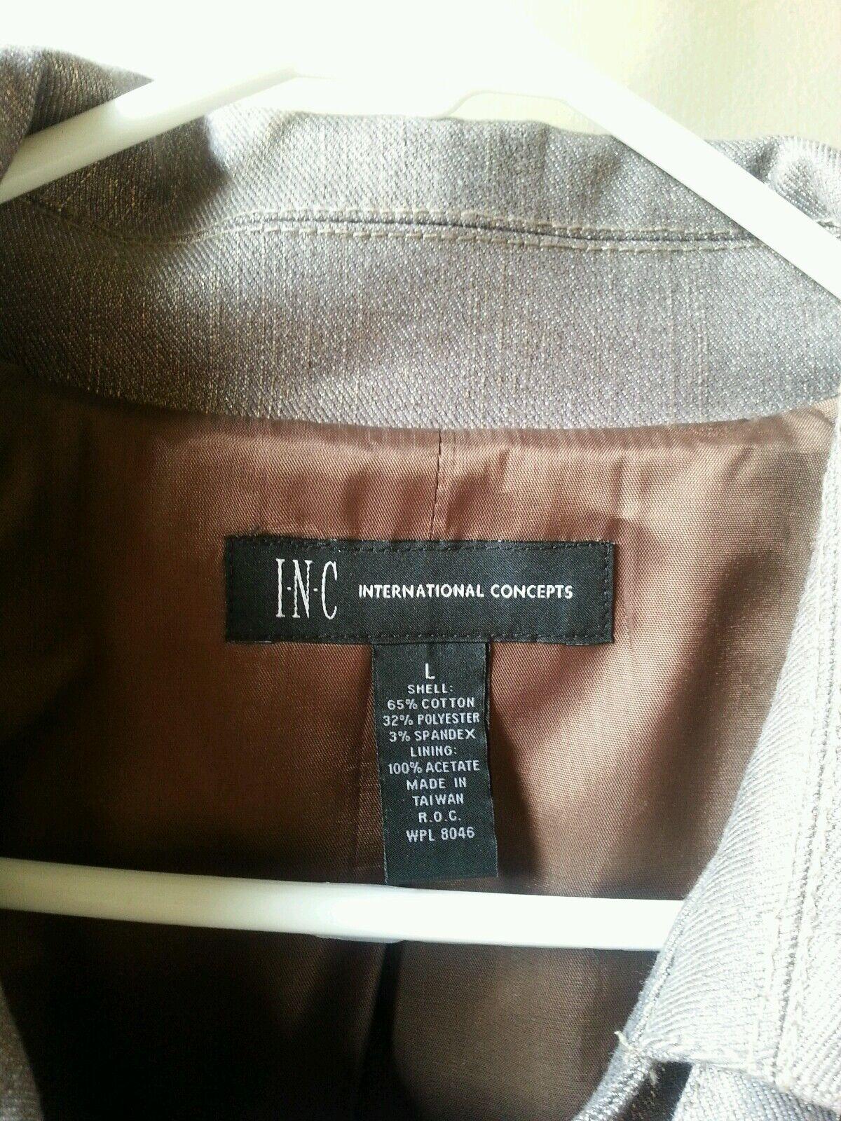 Preowned INC International Concepts Metallic gold Short Short Short Trench Coat Size L d4e5b1