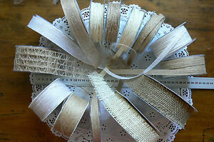 SURPRISE-BURLAP-Mix-NATURAL-amp-IVORY-14-styles-Varied-Lengths-Total-32mtrs