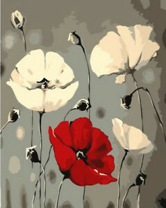 Paint by number kit on canvas red white poppy flower painting pz7092 image is loading paint by number kit on canvas red white mightylinksfo