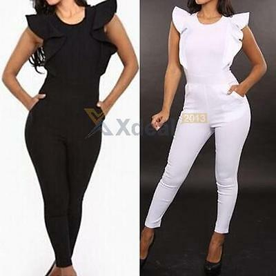New Women Lotus Sleeve Bodycon Bandage Clubwear Romper Sexy Jumpsuit Dress Pants
