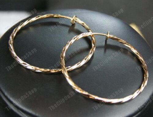 """Clip de 1,75 /""""un gran giro pendientes de aro 4,5 Cm Twisted Aros Mira perforado Gold Plt"""
