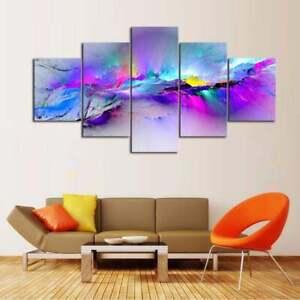 Multi-Panel-Print-Watercolor-Mountain-Ridge-Canvas-Abstract-Wall-Art-5-Piece-Sky