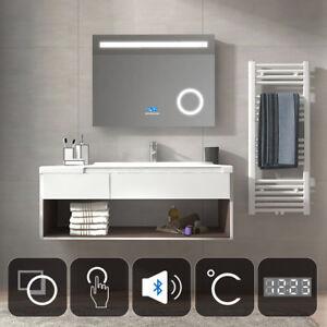 Badspiegel Mit Led Beleuchtung 80x60 Mit Bluetooth Uhr