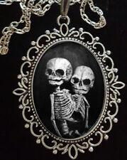 Siamese Twins Skeleton Antique Silver Pendant Necklace *Steampunk*Freakshow*Goth