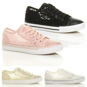 WOMENS-LADIES-FLAT-LACE-UP-MESH-SEQUIN-SUMMER-LO-TOP-TRAINERS-SNEAKERS-SIZE