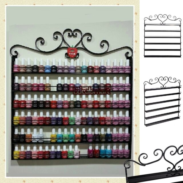 New Heart Black Metal Nail Polish Display Wall Rack Fit Up To 108 Bottles 6 Tier