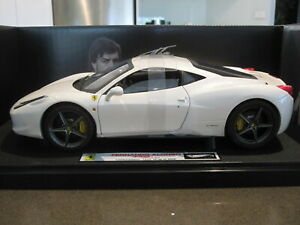 1-18-HOT-WHEELS-ELITE-FERRARI-458-ITALIA-FERNANDO-ALONSO-WHITE-NEW