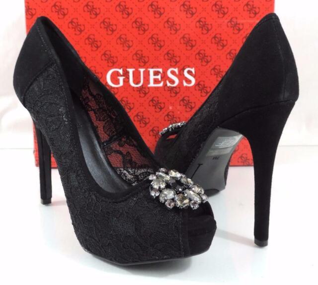 eb0d046039 Womens Shoes Guess Hotspot Platform Dress Pumps Heels Black Multi Fabric  Size 7