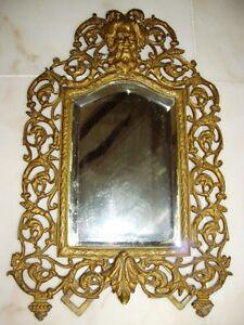 Antique-Cast-Figural-Bacchus-Northwind-Beveled-Easel-Mirror
