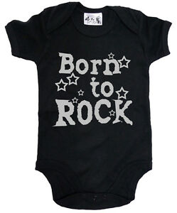 Dirty-Fingers-034-Born-to-Rock-034-Baby-Bodysuit-Babygrow-Music-Heavy-Metal-Clothes