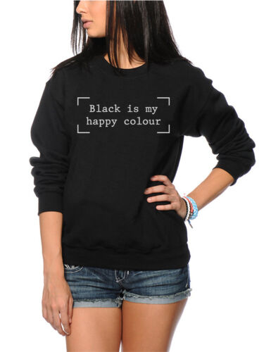 Black is my Happy Colour Black Goth Hipster Moody Jumper Many Sizes