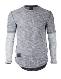 a0e660672cf4 Zimego Men s Casual Knitted Contrast Long Sleeve Round Bottom SLIM T ...