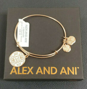 e426a201e6273 Details about Alex and Ani BLESSED Shiny Rose Finish Charm Bangle New W/Tag  Card & Box