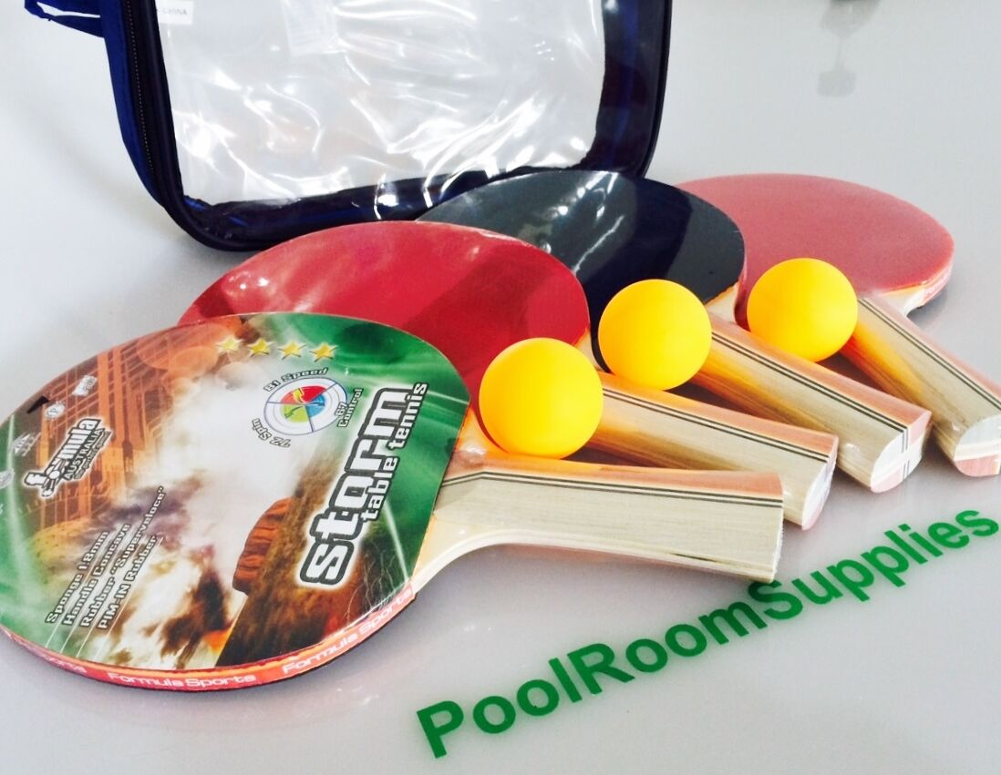 STORM Table Tennis Ping Pong Bats SET Includes 4 BATS 3x Table Tennis Balls Case