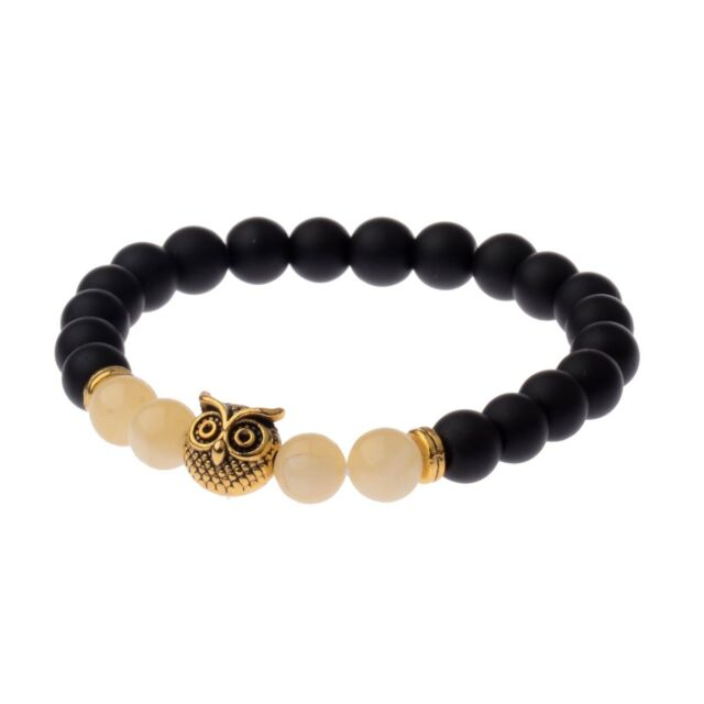 Men Gold Owl Head 8MM Natural Agate Black Lava Beads Bracelets Charm Jewelry