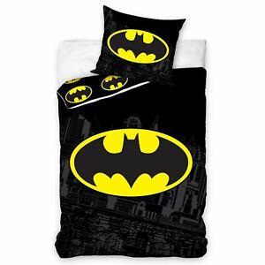 Batman-Logo-100-Coton-Housse-de-Couette-Set-Officiel-Neuf-Reversible-Literie