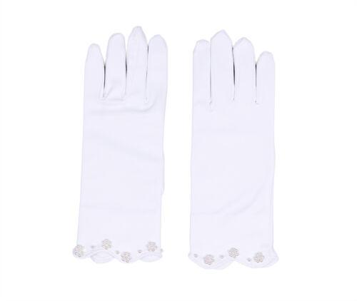 Handgelenk Länge Satin Mädchen Shorts Finger Kommunion Festzug Handschuh
