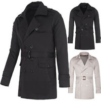 Black S M L XL Mens Casual Slim Fit Trench Coat Jacket Long Outerwear Overcoat