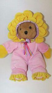 Plush brown teddy bear in pink flower costume outfit Dandee stuffed animal