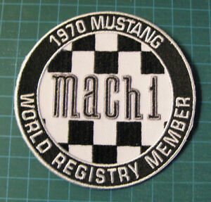 1970-MUSTANG-MACH1-WORLD-REGISTRY-MEMBER-EMBROIDERED-PATCH-PATCHE-3-5-in-FORD