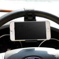 "Car Mount Holster Clip On Steering Wheel iPhone 4.7"" Samsung Phone Holder Black~"