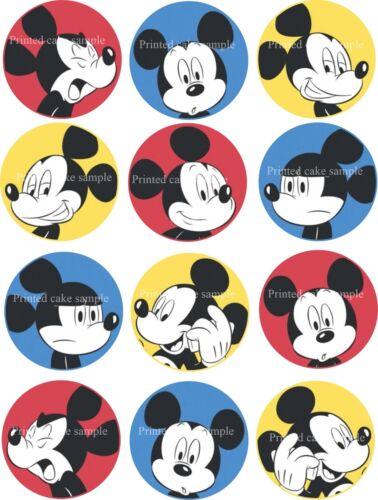12 X 5cm PRECORTADA Vintage Mickey Mouse Glaseado Comestible Cupcake Toppers Peel /& adjuntar