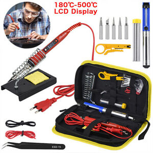 220V-80W-LCD-Digital-Temperature-Adjustable-Electric-Soldering-Welding-Iron-Kit
