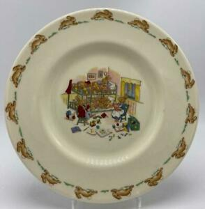Bunnykins-by-Royal-Doulton-034-Bedtime-Bunks-2-034-Salad-Snack-Plate-8-034-Albion-Shape